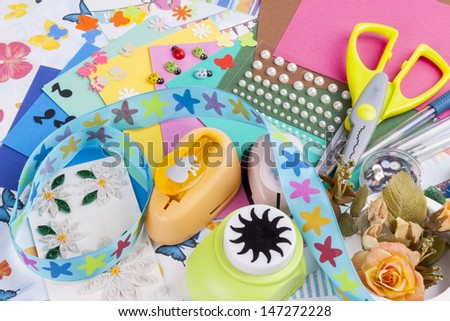 Scrapbooking set - white background. - stock photo