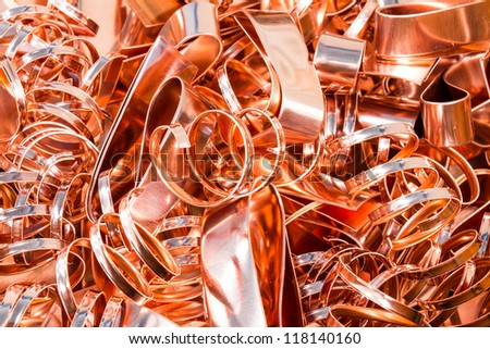 Scrapheap of copper foil (sheet) for recycling - stock photo