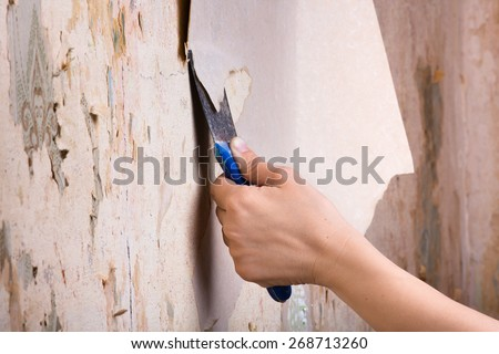 scraping off old wallpaper - stock photo
