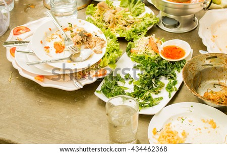 Scraps left over after the party. - stock photo