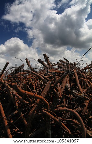 Scrapyard Iron Ready for Recycling