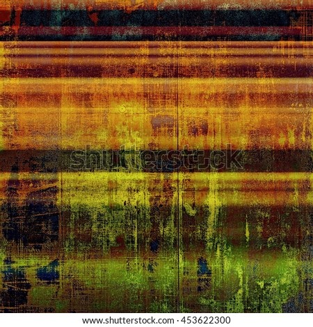 Scratched background with retro style overlay. Aged texture with different color patterns: yellow (beige); brown; green; blue; red (orange); pink - stock photo