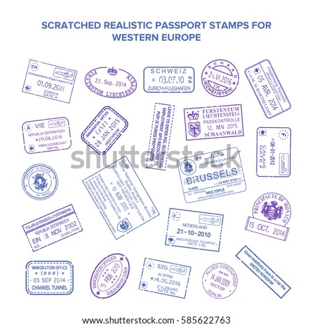 Scratched bitmap visa travel stamps isolated on white