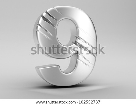 scratched glossy metal 3d number 9  WITH ALPHA CHANEL