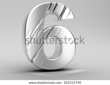 scratched glossy metal 3d number 6  WITH ALPHA CHANEL