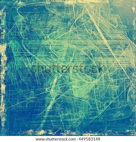 Scratched grunge background or spotted vintage texture. With different color patterns: yellow (beige); green; blue; cyan; gray - stock photo
