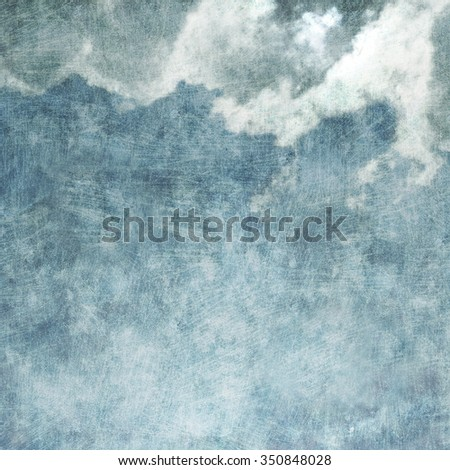 Scratched Grunge Background with Dreamy Clouds