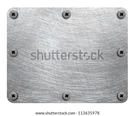 Scratched metal plate with rivets isolated on white background - stock photo
