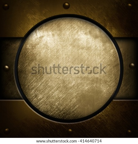scratched metal with round design background - stock photo