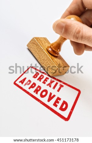 Scratched red stamped Brexit Approved - stock photo