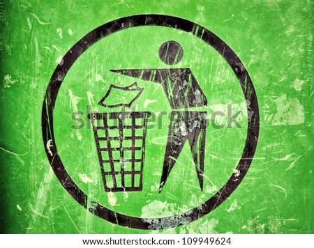 Scratched trash sign - stock photo