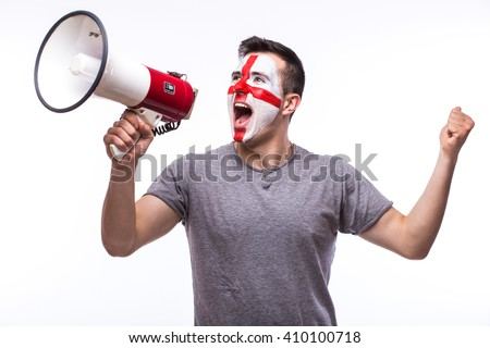 Scream on megaphone Englishman football fan in game supporting of England national team on white background. European football fans concept. - stock photo