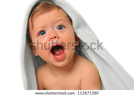 Screaming baby boy, ten months old. - stock photo