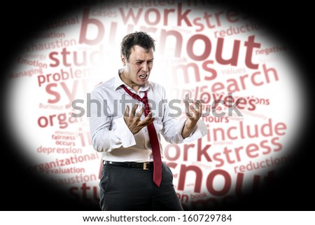 Screaming, desperate man with burnout syndrome - stock photo