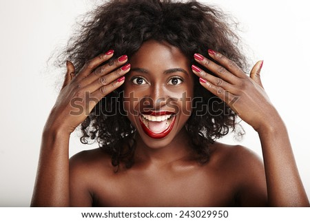 screaming emotional black woman with a red lips - stock photo