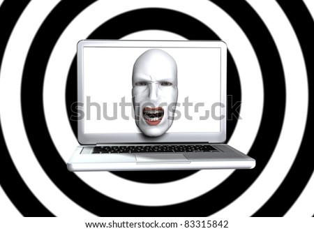 Screaming face from laptop screen. - stock photo