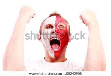 Screaming football fan with face  painted in Poland color - stock photo