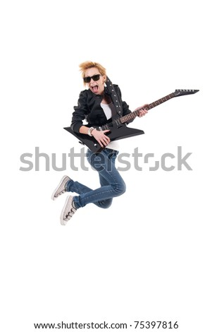 screaming girl with electric guitar making rock sign over white - stock photo