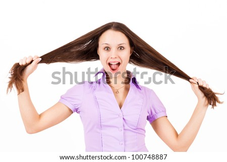 Screaming girl with long hair, isolated on white