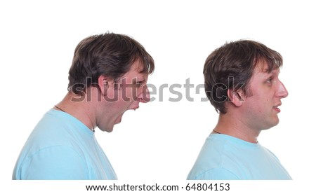 Screaming man and a frightened man. Isolated - stock photo