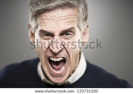Screaming Senior Man - stock photo