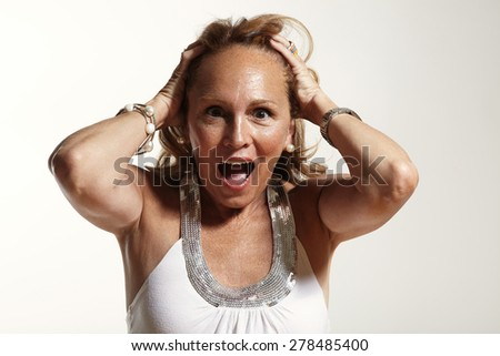 screaming senior woman. Sceared, screaming, fear,