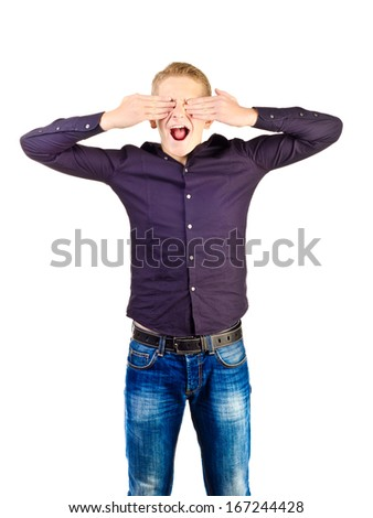 screaming teenage boy with open mouth - stock photo