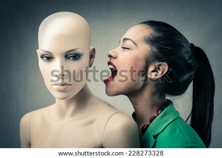 Screaming towards someone that cannot hear you  - stock photo