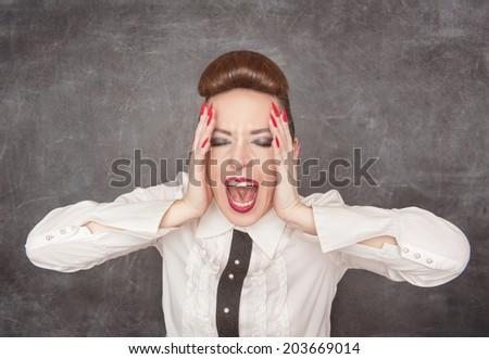 Screaming woman  - stock photo