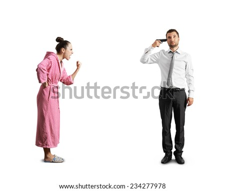 screaming woman and stressed man with gun. isolated on white background - stock photo
