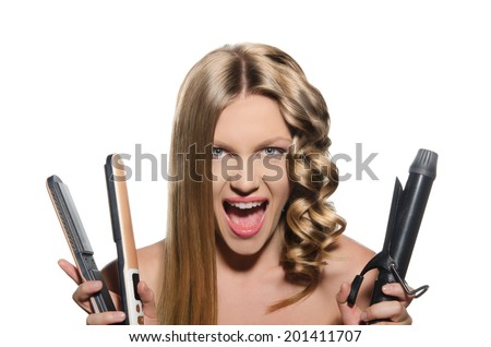 Screaming woman keeps hair curlers and rectifier