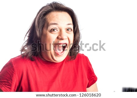 screaming woman on white with space for text or graphic