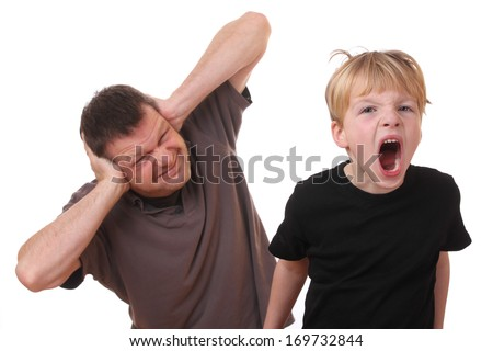 Screaming young boy and man covering his ears - stock photo