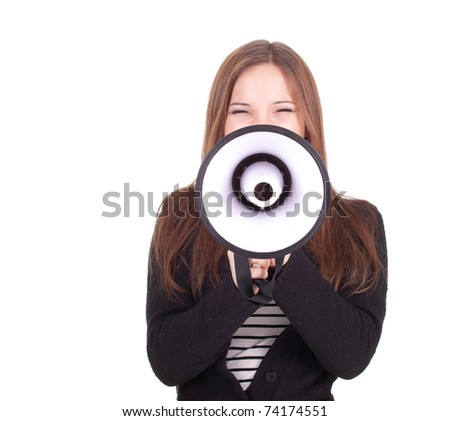 screaming young, long hair woman with megaphone - stock photo
