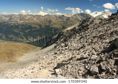 scree slope in Swiss Alps - stock photo
