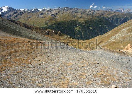 scree slope in Val d'Anniviers, Switzerland - stock photo