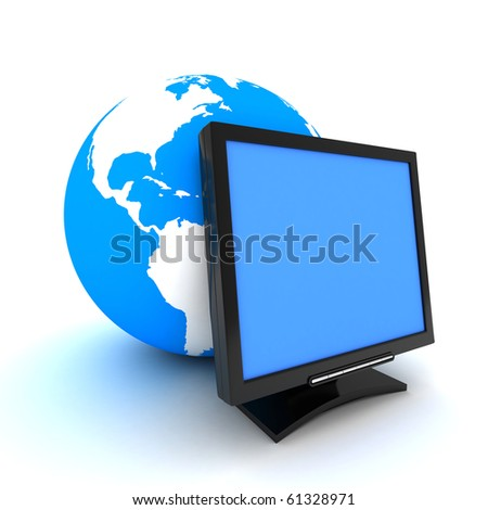 screen and earth (done in 3d, isolated) - stock photo
