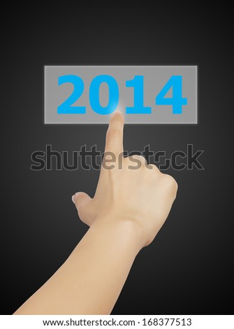 Screen button with 2014 number on hand, new year 2014 concept.