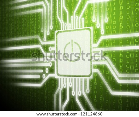 Screen of security network with power on symbol - stock photo