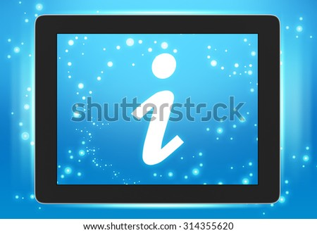 Screen tablet with icon information wheels on the screen. - stock photo