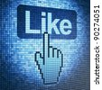 Screen with Like button and hand-shaped cursor, 3d render - stock vector