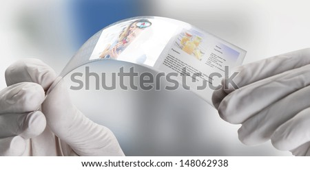Screen with social media icons made of graphene .  Graphene application - stock photo