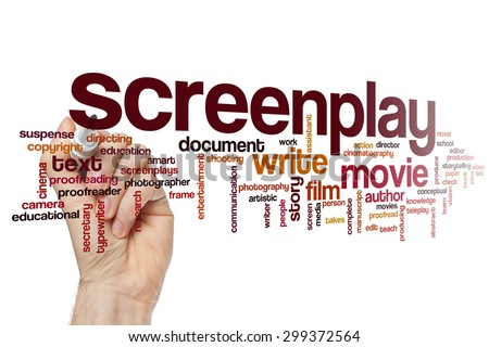 Screenplay word cloud concept - stock photo