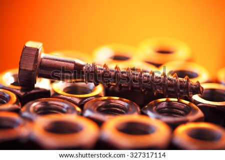 Screw and nuts. Industrial object. - stock photo