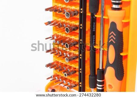 Screw Driver Tool set isolate background - stock photo