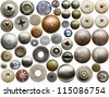 Screw heads, nuts, rivets and other metal details. - stock photo