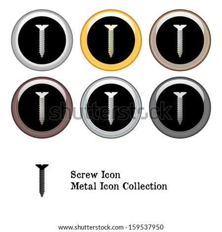 Screw Icon Metal Icon Set.  Raster version. - stock photo