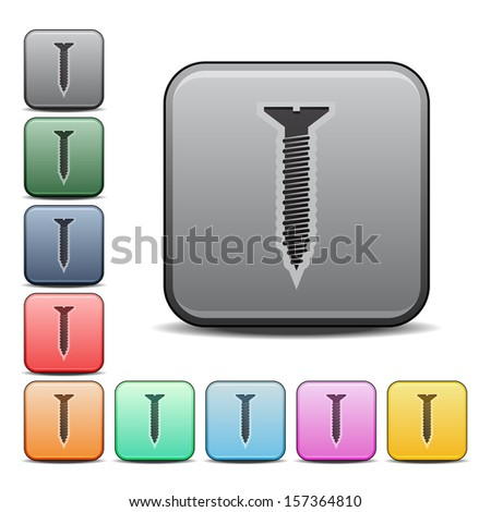 Screw Icon Square Icon with Color Variations.  Raster version. - stock photo