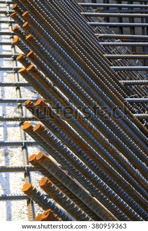 Screw thread steel bar framework in the construction site