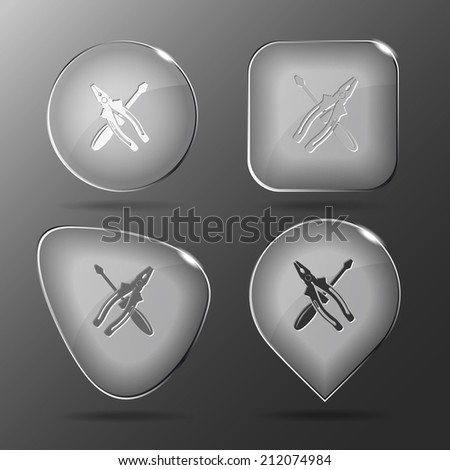 Screwdriver and combination pliers. Glass buttons. Raster illustration. - stock photo